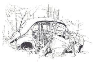 ink sketch, car in woods